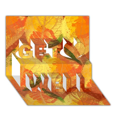 Fall Colors Leaves Pattern Get Well 3D Greeting Card (7x5)