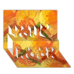 Fall Colors Leaves Pattern You Rock 3D Greeting Card (7x5)