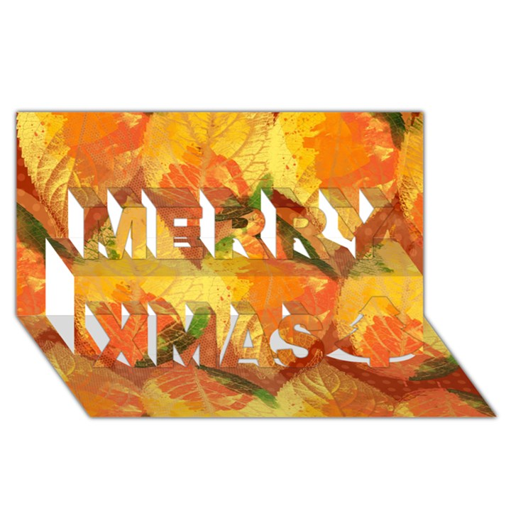 Fall Colors Leaves Pattern Merry Xmas 3D Greeting Card (8x4)