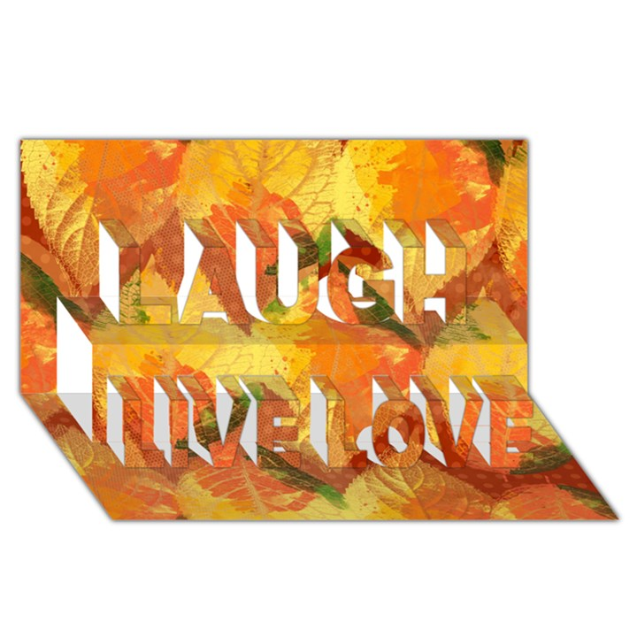 Fall Colors Leaves Pattern Laugh Live Love 3D Greeting Card (8x4)