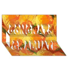 Fall Colors Leaves Pattern Congrats Graduate 3D Greeting Card (8x4)