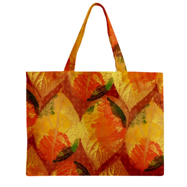 Fall Colors Leaves Pattern Zipper Mini Tote Bag