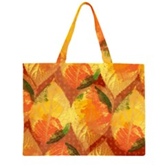 Fall Colors Leaves Pattern Large Tote Bag