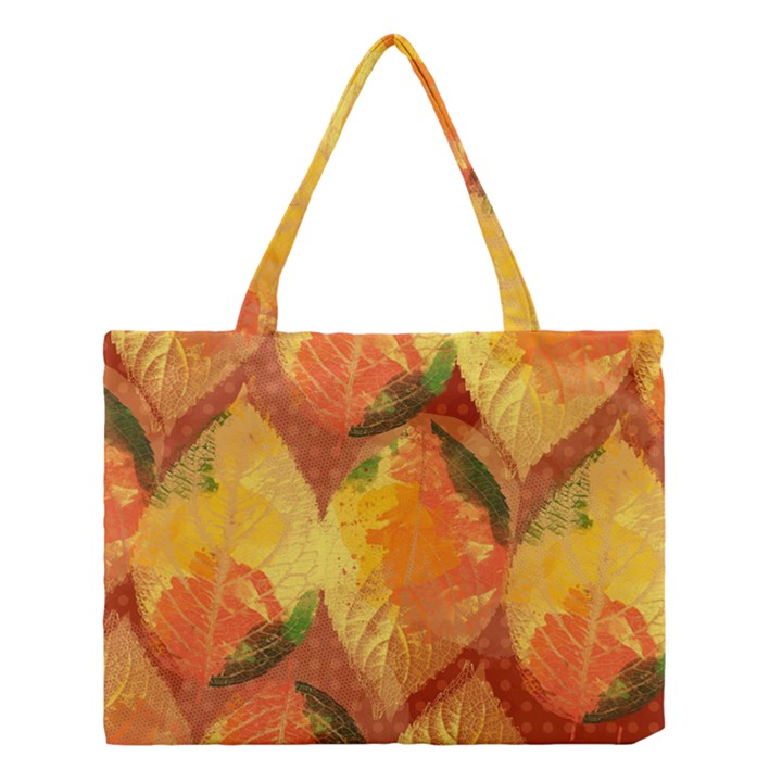 Fall Colors Leaves Pattern Medium Tote Bag