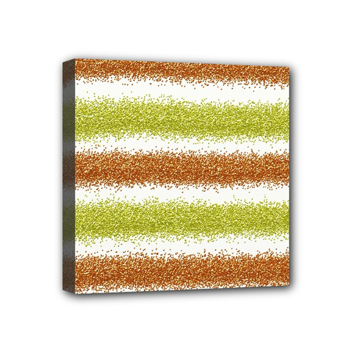 Metallic Gold Glitter Stripes Mini Canvas 4  x 4