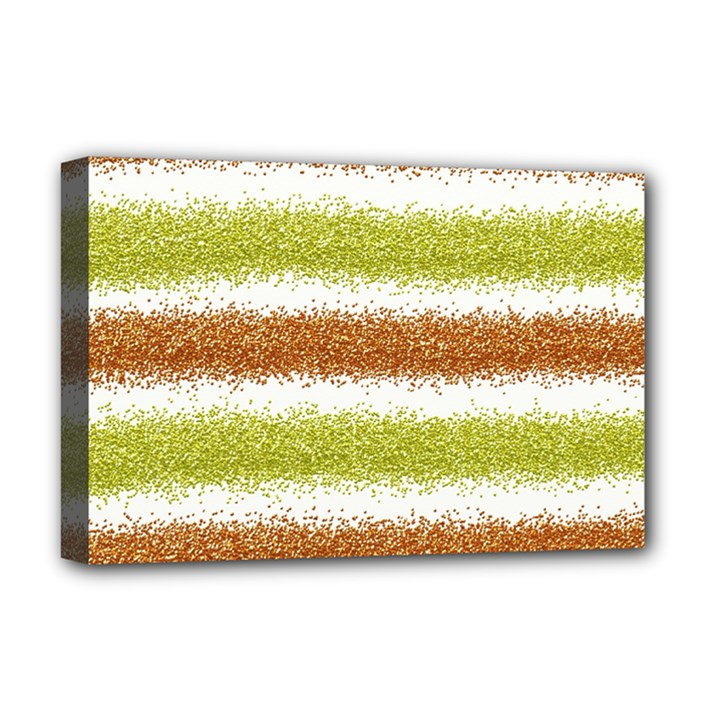Metallic Gold Glitter Stripes Deluxe Canvas 18  x 12