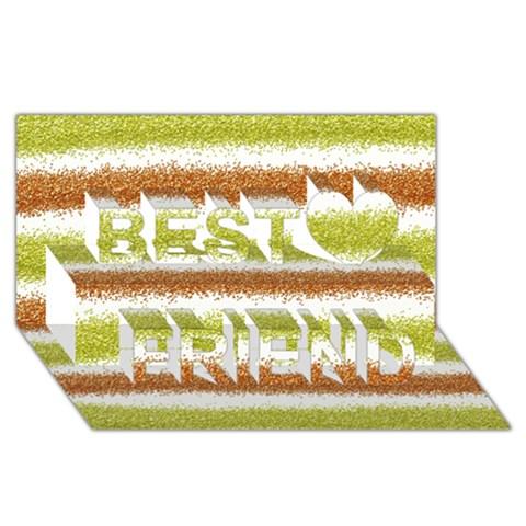 Metallic Gold Glitter Stripes Best Friends 3D Greeting Card (8x4)