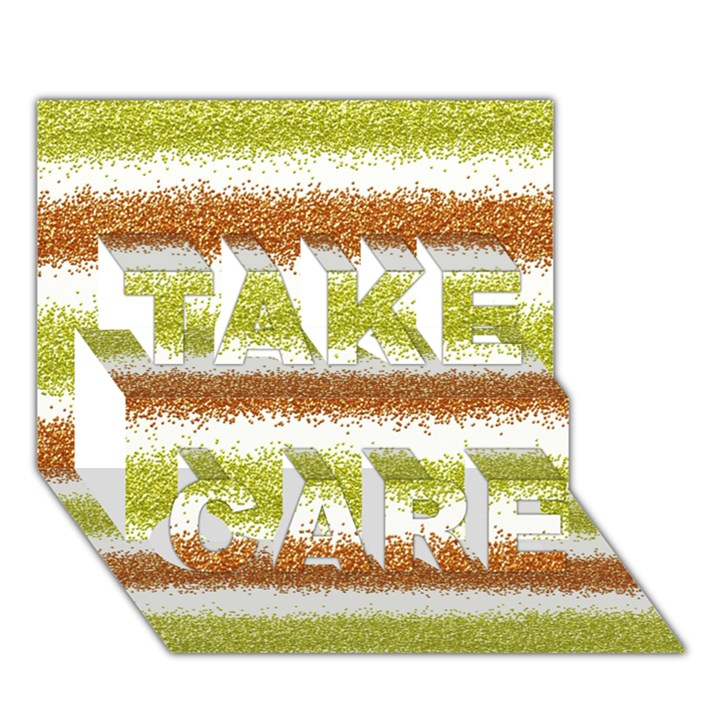Metallic Gold Glitter Stripes TAKE CARE 3D Greeting Card (7x5)