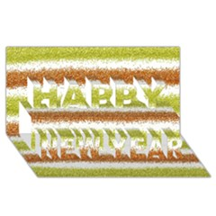 Metallic Gold Glitter Stripes Happy New Year 3D Greeting Card (8x4)