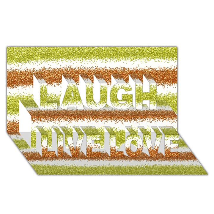 Metallic Gold Glitter Stripes Laugh Live Love 3D Greeting Card (8x4)