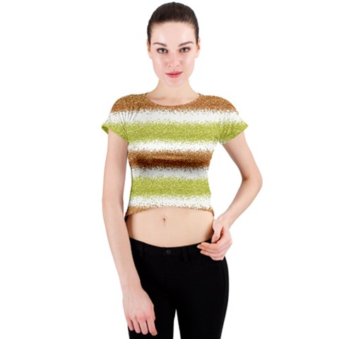 Metallic Gold Glitter Stripes Crew Neck Crop Top
