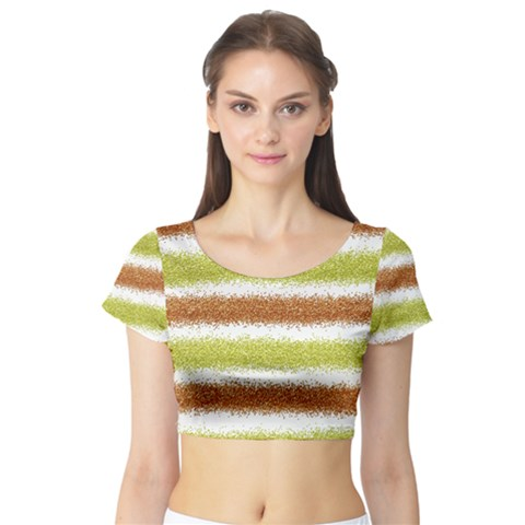 Metallic Gold Glitter Stripes Short Sleeve Crop Top (Tight Fit)