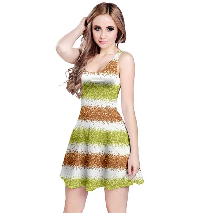 Metallic Gold Glitter Stripes Reversible Sleeveless Dress
