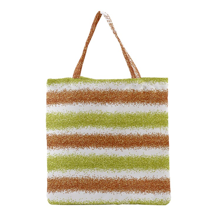 Metallic Gold Glitter Stripes Grocery Tote Bag