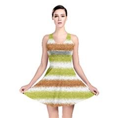 Metallic Gold Glitter Stripes Reversible Skater Dress