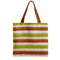Metallic Gold Glitter Stripes Zipper Grocery Tote Bag
