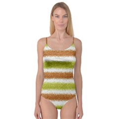 Metallic Gold Glitter Stripes Camisole Leotard