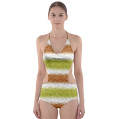 Metallic Gold Glitter Stripes Cut-Out One Piece Swimsuit
