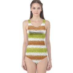 Metallic Gold Glitter Stripes One Piece Swimsuit