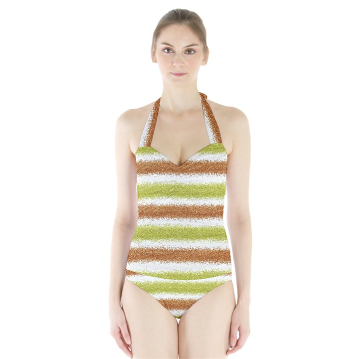 Metallic Gold Glitter Stripes Halter Swimsuit