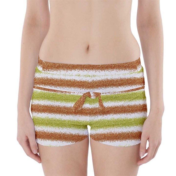 Metallic Gold Glitter Stripes Boyleg Bikini Wrap Bottoms