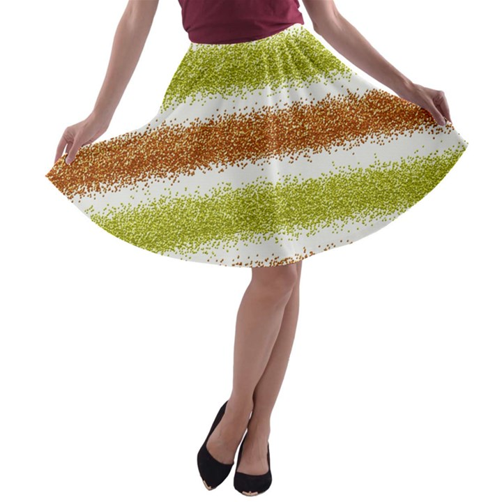 Metallic Gold Glitter Stripes A-line Skater Skirt