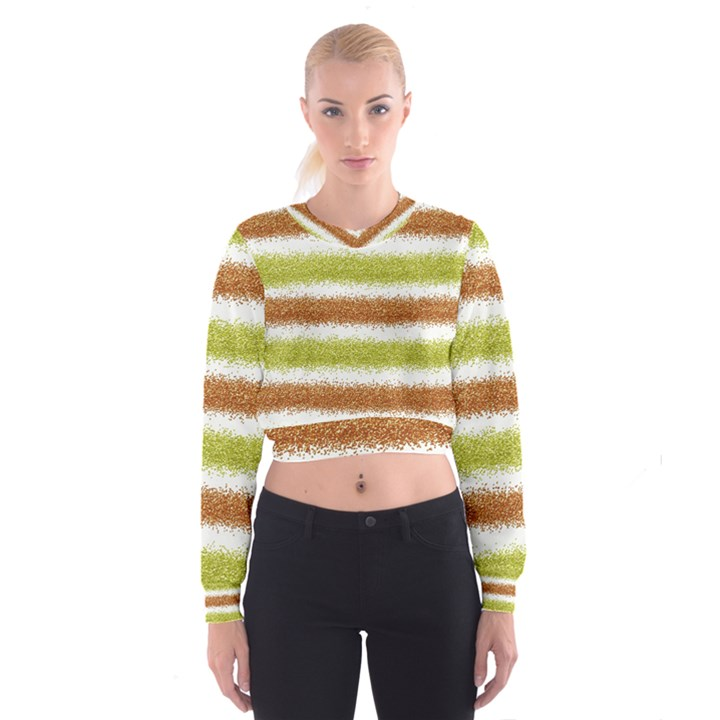 Metallic Gold Glitter Stripes Women s Cropped Sweatshirt