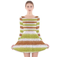 Metallic Gold Glitter Stripes Long Sleeve Velvet Skater Dress