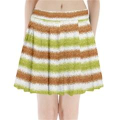 Metallic Gold Glitter Stripes Pleated Mini Skirt