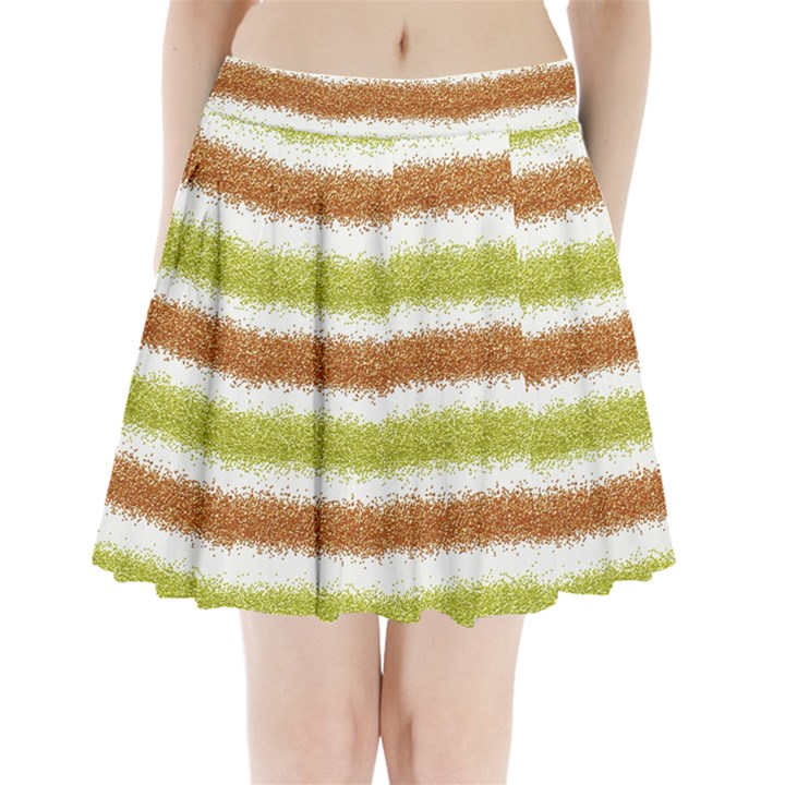 Metallic Gold Glitter Stripes Pleated Mini Skirt
