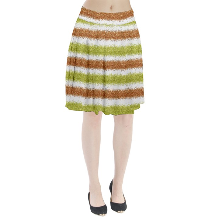 Metallic Gold Glitter Stripes Pleated Skirt