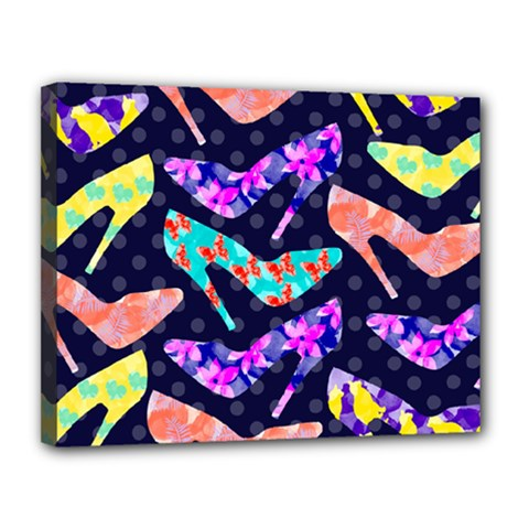 Colorful High Heels Pattern Canvas 14  X 11