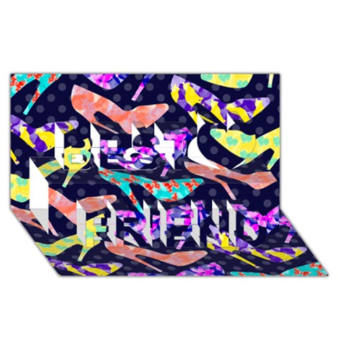 Colorful High Heels Pattern Best Friends 3D Greeting Card (8x4)