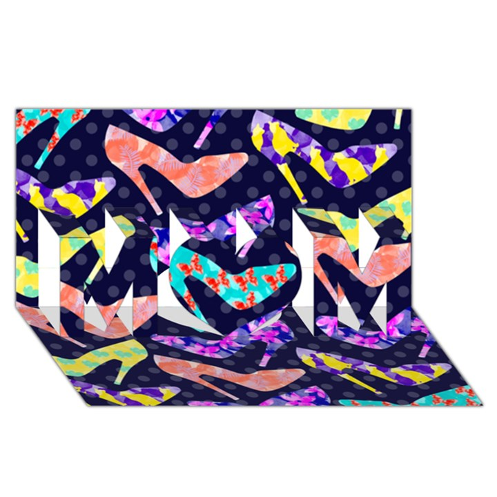 Colorful High Heels Pattern MOM 3D Greeting Card (8x4)
