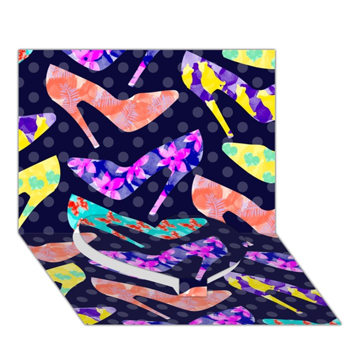 Colorful High Heels Pattern Heart Bottom 3D Greeting Card (7x5)