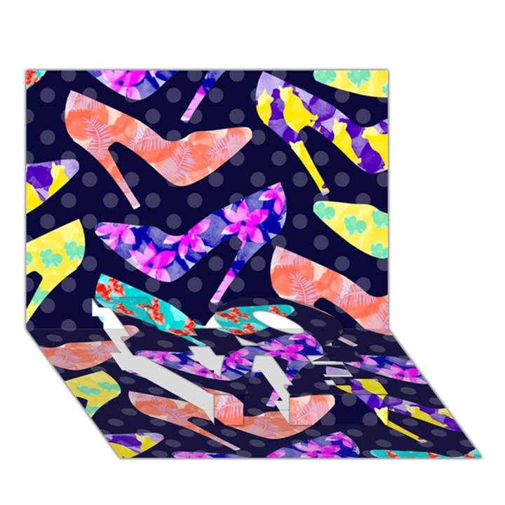 Colorful High Heels Pattern LOVE Bottom 3D Greeting Card (7x5)