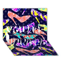 Colorful High Heels Pattern You Are Invited 3d Greeting Card (7x5)