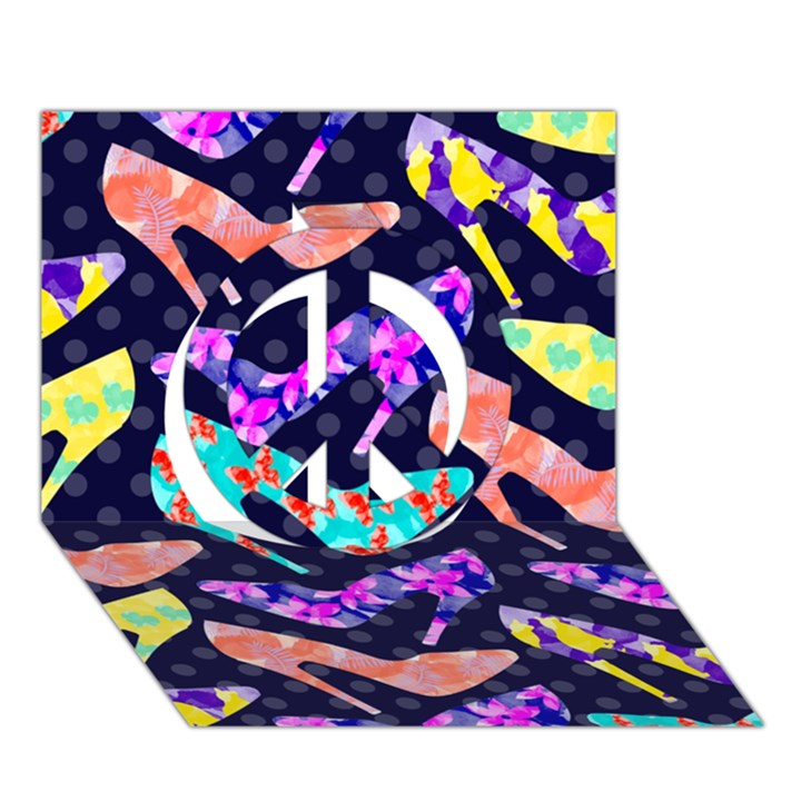 Colorful High Heels Pattern Peace Sign 3D Greeting Card (7x5)