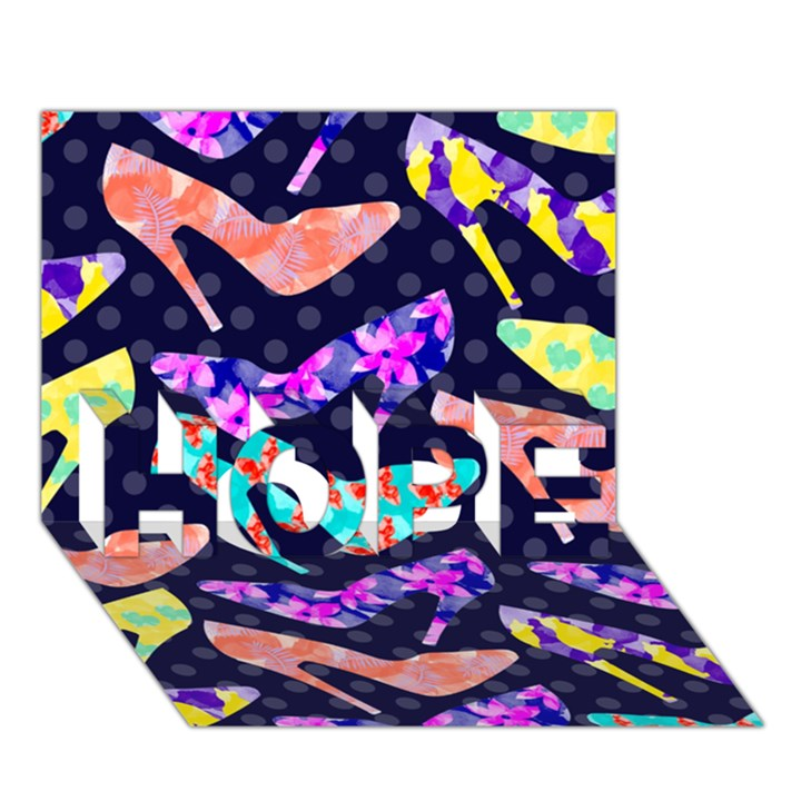 Colorful High Heels Pattern HOPE 3D Greeting Card (7x5)