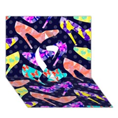 Colorful High Heels Pattern Ribbon 3d Greeting Card (7x5)