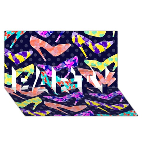 Colorful High Heels Pattern PARTY 3D Greeting Card (8x4)