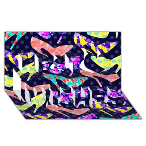 Colorful High Heels Pattern Best Wish 3D Greeting Card (8x4)