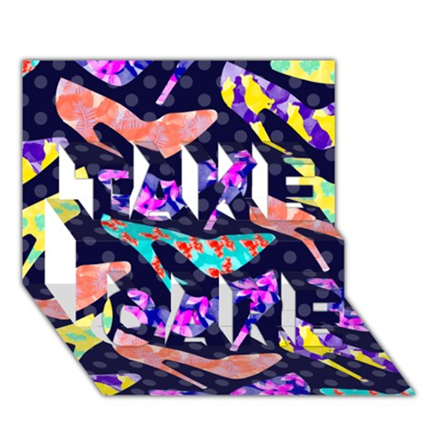Colorful High Heels Pattern TAKE CARE 3D Greeting Card (7x5)