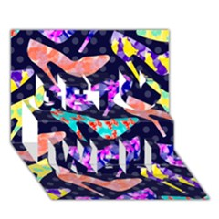 Colorful High Heels Pattern Get Well 3d Greeting Card (7x5)