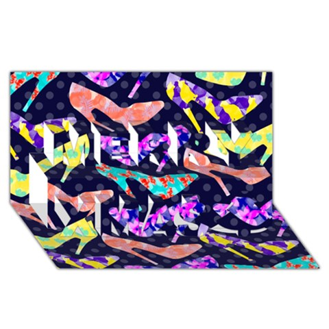 Colorful High Heels Pattern Merry Xmas 3D Greeting Card (8x4)