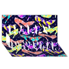 Colorful High Heels Pattern Happy New Year 3D Greeting Card (8x4)