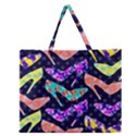 Colorful High Heels Pattern Zipper Large Tote Bag View1