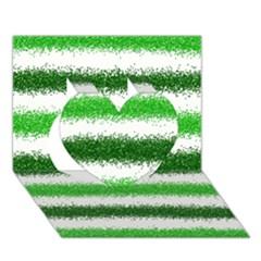 Metallic Green Glitter Stripes Heart 3D Greeting Card (7x5)