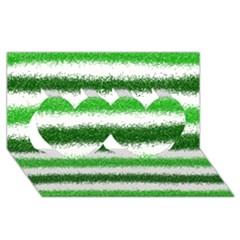 Metallic Green Glitter Stripes Twin Hearts 3D Greeting Card (8x4)