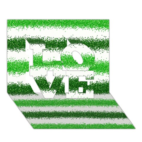 Metallic Green Glitter Stripes LOVE 3D Greeting Card (7x5)